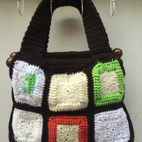 EARTH tone TRUE Vintage 1970s hand made Granny Square Purse hand bag Shoulder bag