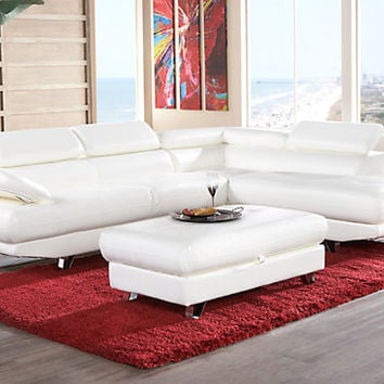 Salerno White 2Pc Sectional