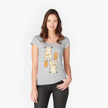 'Hand with sauce illustration by MrN' Women's Fitted Scoop T-Shirt by mrnobody15