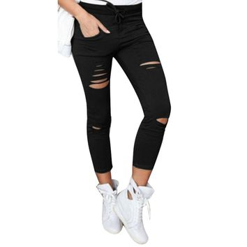2017 Cotton High Elastic Imitate Jeans Woman Solid Skinny Pencil Pants Slim Ripped Jeans For Women Black White Ripped Pants XXL