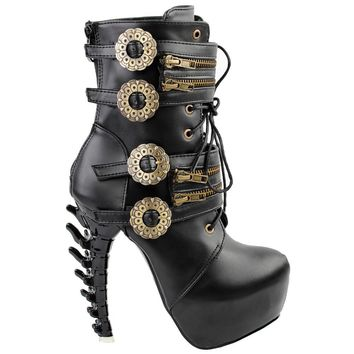 LF80651 Punk Design Zipper Women's High-top Bone High Heel Platform Ankle Boots Black