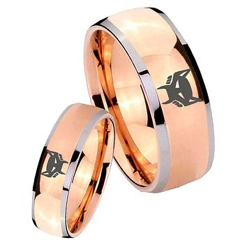 His Hers Rose Gold Dome Maximal Design Two Tone Tungsten Wedding Rings Set