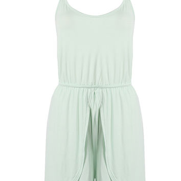 Light Green Cut Out Back Tied Waist Spaghetti Strap Romper