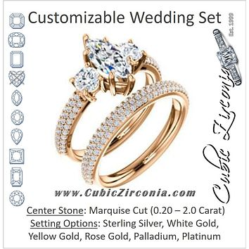 CZ Wedding Set, featuring The Zuleyma engagement ring (Customizable Enhanced 3-stone Marquise Cut Design with Triple Pavé Band)