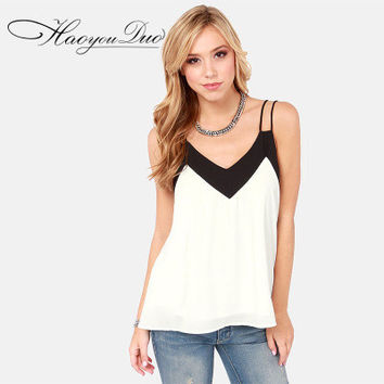 Chiffon Loose Backless Sexy Spagehetti Strap V Neck