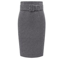 [15177] Thick Woolen Midi Pencil Skirt