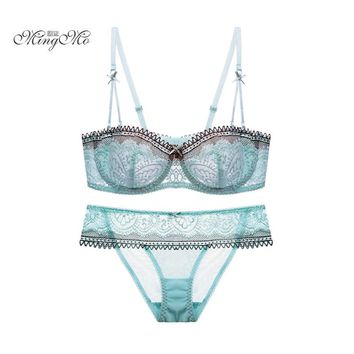 MINGMO 2017 Transparent Lacy Clear bra lace bra and panty set sexy underwear push up bra set women bra sets lingerie