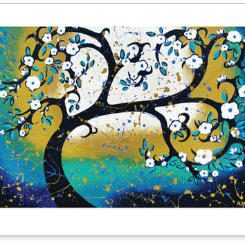 Tree Art Print Wedding Gift  Tree of Life  White by hjmArtGallery