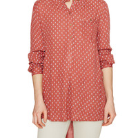 Free People Women's Printed Boyfriend Button Down Top - Red -