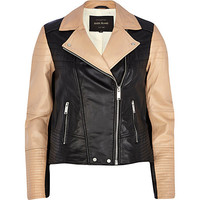 River Island Womens Black color block leather biker jacket