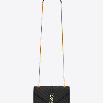 18e9bc6aae132f Saint Laurent Classic Small MONOGRAM SAINT LAURENT Satchel In Black  Matelassé Leather