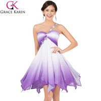 Grace Karin Chiffon Colorful high low Ombre Short One Shoulder Formal Gown