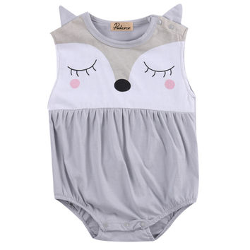 Cute Fox Cotton Sleeveless Bodysuit for Infant Girls