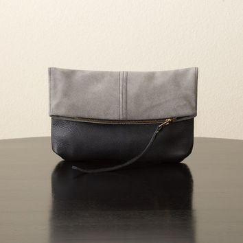 Grey Suede and Black Leather Foldover Clutch
