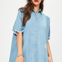 Missguided - Blue Oversized Denim Shirt Dress