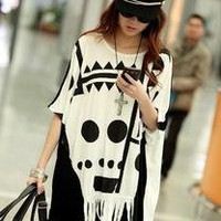 Fashion Black White Round Neck Bat-wing T-shirt mercerized cotton one size