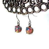 Vintage Fire opal earrings 9mm round
