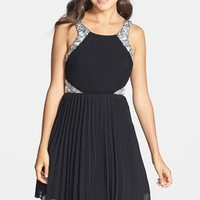Junior Women's Way-In Embellished Pleated Skater Dress
