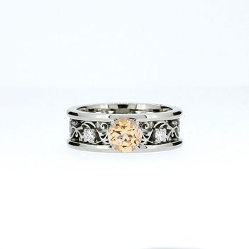 Wide filigree ring with Citrine and diamonds, citrine engagement ring, diamond filigree, unique, white gold, yellow gold, yellow gemstone