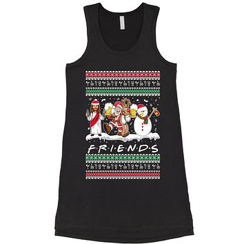 Friends Christmas Drinking Party Ugly Christmas Racerback LBD Little Black Dress