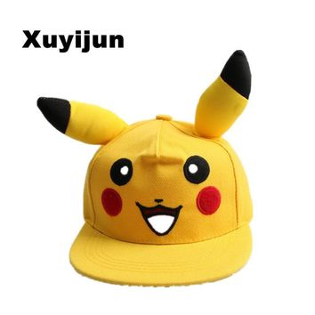 Xuyijun Japanese Famous Animation Cartoon Comic Cute Lovely  GO  Pikachu Flat Snapback Caps Hat for  Men Women child capKawaii Pokemon go  AT_89_9