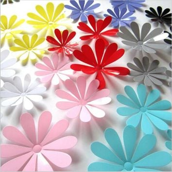 12pcs/Lot Creative 3D PVC Flowers Wall Stickers Acrylic Wall Decals For Kids Room Kitchen TV Wall Stickers Home Decor