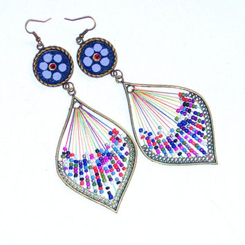 Large Funky Colorful Boho Hand Painted Floral Multicolor Long Dangle Earrings