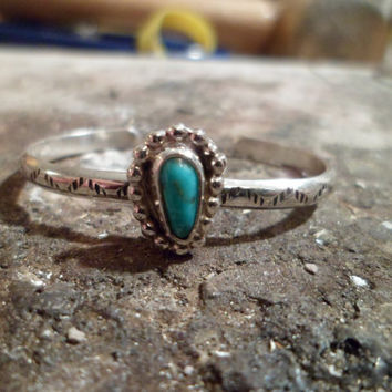 Authentic Navajo,Native American Southwestern sterling silver sleeping beauty turquoise bracelet.Kid/Toddler/baby