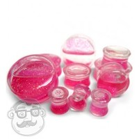 Hot Pink Liquid Glitter Saddle Plugs (0 Gauge - 1 Inch) | UrbanBodyJewelry.com