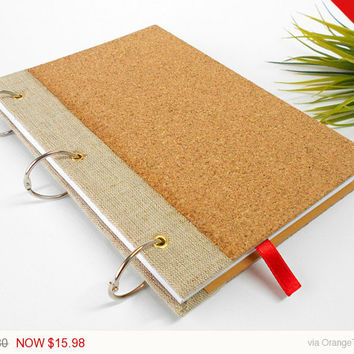 Sale - Holidays gift Customizable ring journal with natural cork covers- 200 pages- refillable rustic travel journal with hardcovers