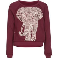 Full Tilt Elephant Girls Sweatshirt Burgundy  In Sizes