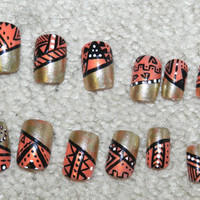 Hand pained aztec nails
