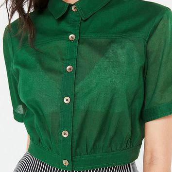 UO Lafayette Button-Down Cropped Top | Urban Outfitters
