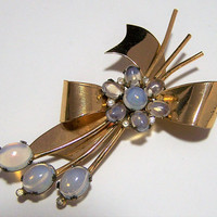 Coro Glass Moonstone Brooch Pin, Floral Bow Sterling Silver Gold Wash, Bridal Jewelry, 1940s Mid Century Large Flower Brooch 118