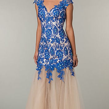 Lace V-Neck Long Prom Gown by Alyce