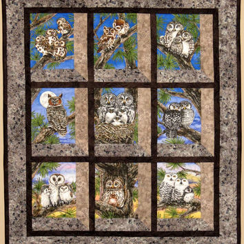 Quilted and Pieced Wall Hanging, Attic Window, Owls Perched in Tree