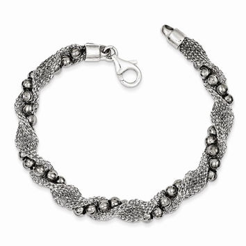 Sterling Silver and Ruthenium-Plated Bead and Mesh Fancy Bracelet