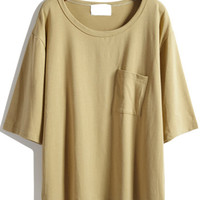 Khaki Half Sleeve Pocket T-shirt