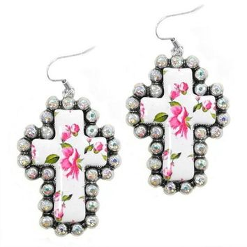 Western Pink and White Floral Cross Rhinestone Earrings