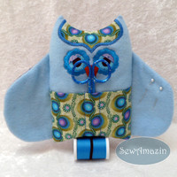 Owl Pin Cushion, Sewing Kit, Blue and Lavender, with scissors and thread
