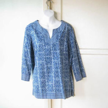 Slate Blue Batik-Style Tunic; Women's Medium Dashiki-Influenced Cotton Tunic Top; 3/4 Sleeves; U.S. Shipping Included