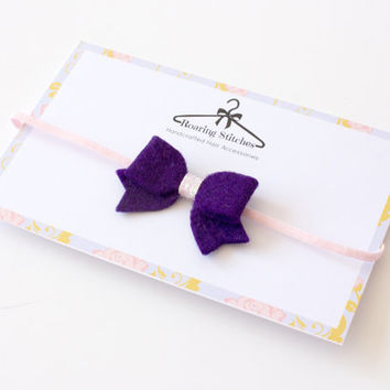 Purple baby headband - plum purple bow - wool felt and pink glitter