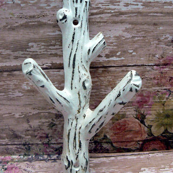 Tree Branch Wall Hook Shabby Cottage Chic Classic White Distressed Mudroom Leash Towel Keys Nature Rustic Woodsy Cabin Home Decor Design