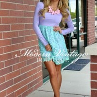 Sweet Pea Lace Dress Lilac and Turquoise - Modern Vintage Boutique