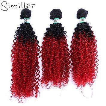 LMF78W Similler 210g Women Curly Synthetic Hair Weaving Bundles Hairpiece Weft For Halloween Black T Red Ombre Color