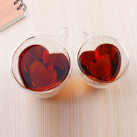 Creative Heart-Shaped Double Glass (2 Cup)