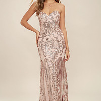 Bariano Rebecca Rose Gold Strapless Sequin Maxi Dress