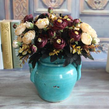Vivid 6 Branches Autumn Artificial Fake Peony Flower Home Room Bridal Hydrangea Decor Real Touch