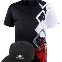 Players Men's Golf Shirt & Flat Brim Snapback Hat (Black)