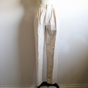 Vintage 1980s Calvin Klein Pants Natural Linen-Cotton 80s High Waist Trousers 8 Union Made Slacks